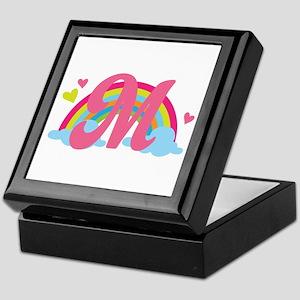 Letter M Rainbow Monogrammed Keepsake Box