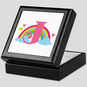 Letter J Rainbow Monogrammed Keepsake Box