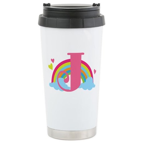 Letter J Rainbow Monogrammed Stainless Steel Trave