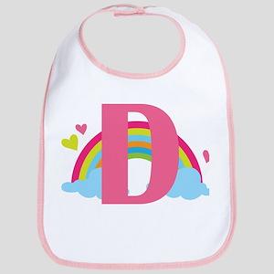 Letter D Rainbow Monogrammed Bib