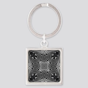 Black White Silver Geometry Keychains