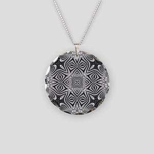 Black White Silver Geometry Necklace Circle Charm