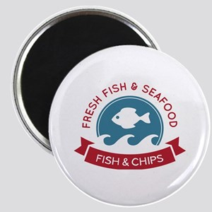 Fish And Chips Seafood Logo Magnet