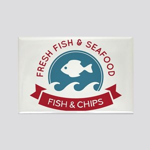 Fish And Chips Seafood Logo Rectangle Magnet
