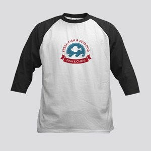 Fish And Chips Seafood Logo Kids Baseball Jersey