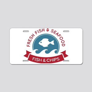 Fish And Chips Seafood Logo Aluminum License Plate
