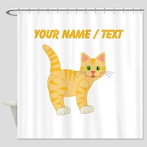 Custom Orange Cat Shower Curtain