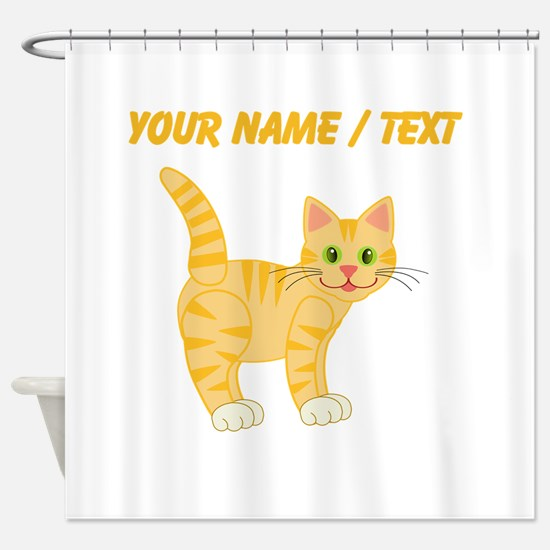 Custom Orange Cat Shower Curtain