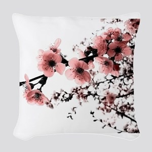 Cherry Blossoms Woven Throw Pillow