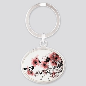 Cherry Blossoms Oval Keychain