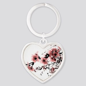 Cherry Blossoms Heart Keychain
