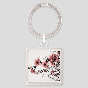 Cherry Blossoms Square Keychain