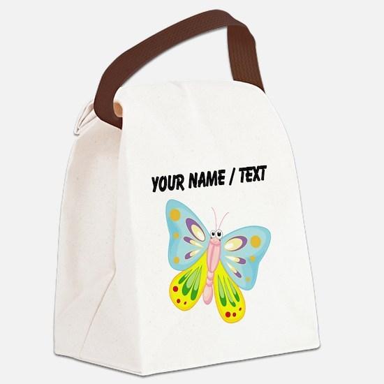 Custom Cartoon Butterfly Canvas Lunch Bag