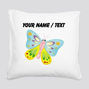 Custom Cartoon Butterfly Square Canvas Pillow