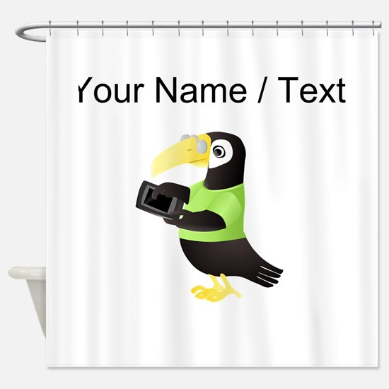Custom Toucan With Tablet Shower Curtain