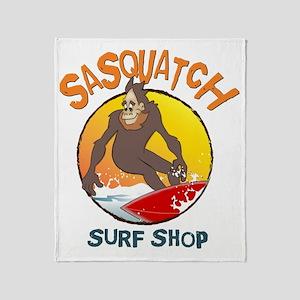 Sasquatch Surf Shop Throw Blanket