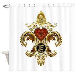 Monogram E Fleur de lis 2 Shower Curtain