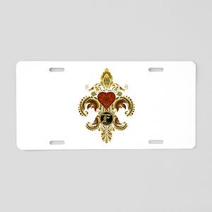 Monogram F Fleur de lis 2 Aluminum License Plate