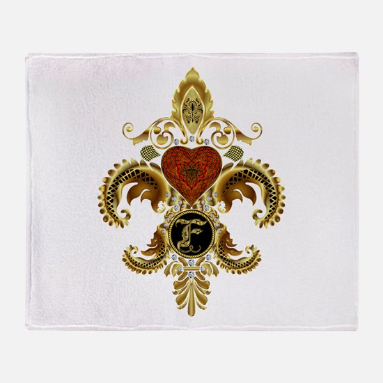 Monogram F Fleur de lis 2 Throw Blanket