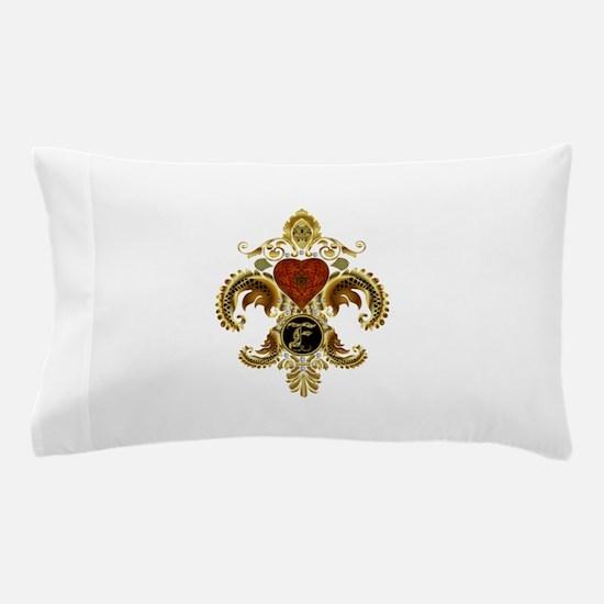 Monogram F Fleur de lis 2 Pillow Case