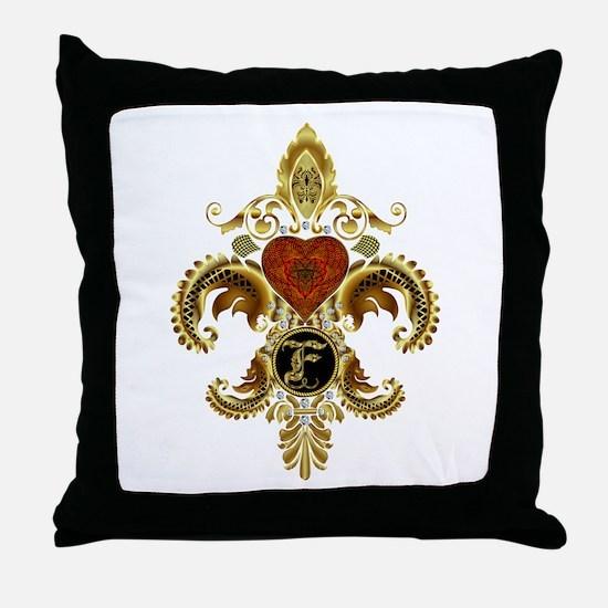 Monogram F Fleur de lis 2 Throw Pillow