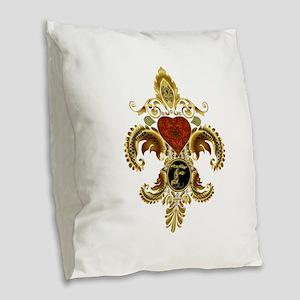 Monogram F Fleur de lis 2 Burlap Throw Pillow