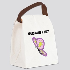 Custom Purple Butterfly Canvas Lunch Bag