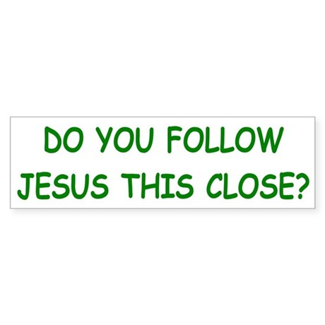 White & Green Follow Jesus Bumper Sticker