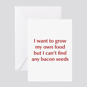 bacon-seeds-opt-dark-red Greeting Cards