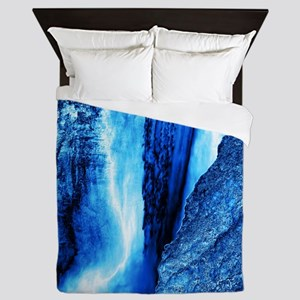 gigantic waterfall blue ice Queen Duvet