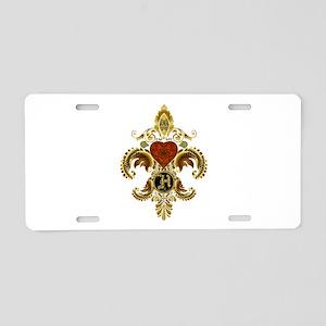 Monogram H Fleur de lis 2 Aluminum License Plate