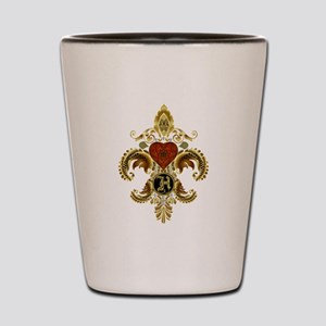 Monogram H Fleur de lis 2 Shot Glass