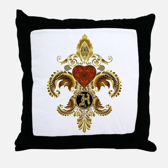 Monogram H Fleur de lis 2 Throw Pillow