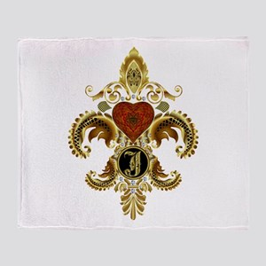 Monogram J Fleur de lis Throw Blanket