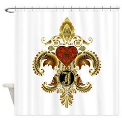 Monogram J Fleur de lis Shower Curtain