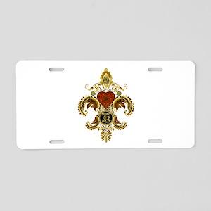 Monogram K Fleur de lis 2 Aluminum License Plate