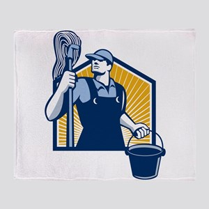 Janitor Cleaner Holding Mop Bucket Retro Throw Bla