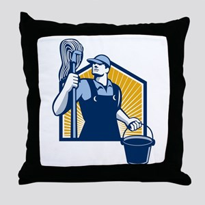 Janitor Cleaner Holding Mop Bucket Retro Throw Pil