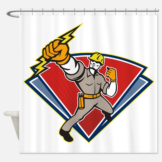 Electrician Punching Lightning Bolt Shower Curtain