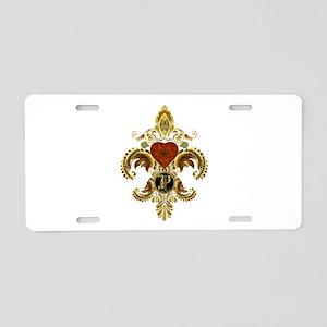 Monogram P Fleur de lis 2 Aluminum License Plate