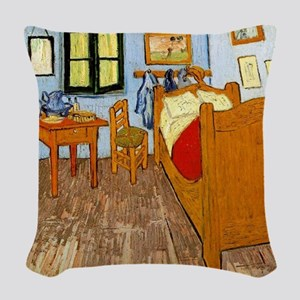 Van Gogh - Vincent's Bed in Ar Woven Throw Pillow