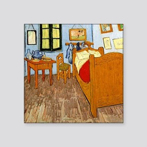 """Van Gogh - Vincent's Bed in Square Sticker 3"""" x 3"""""""