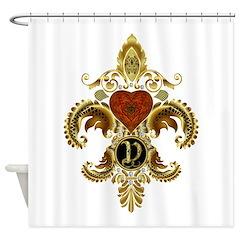 Monogram V Fleur de lis 2 Shower Curtain