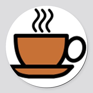 Hot Cup of Coffee Round Car Magnet