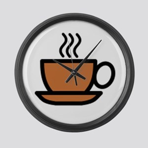 Hot Cup of Coffee Large Wall Clock
