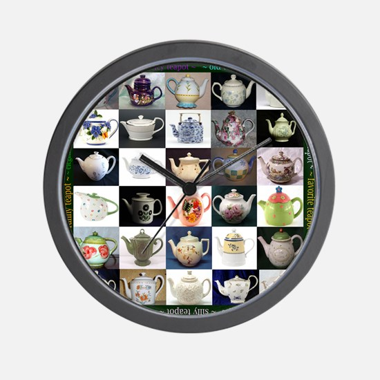 30 Teapots Wall Clock