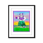 Hula Bulldog Framed Panel Print