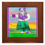 Hula Bulldog Framed Tile