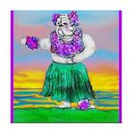Hula Bulldog Tile Coaster