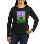 Hula Bulldog Women's Long Sleeve Dark T-Shirt